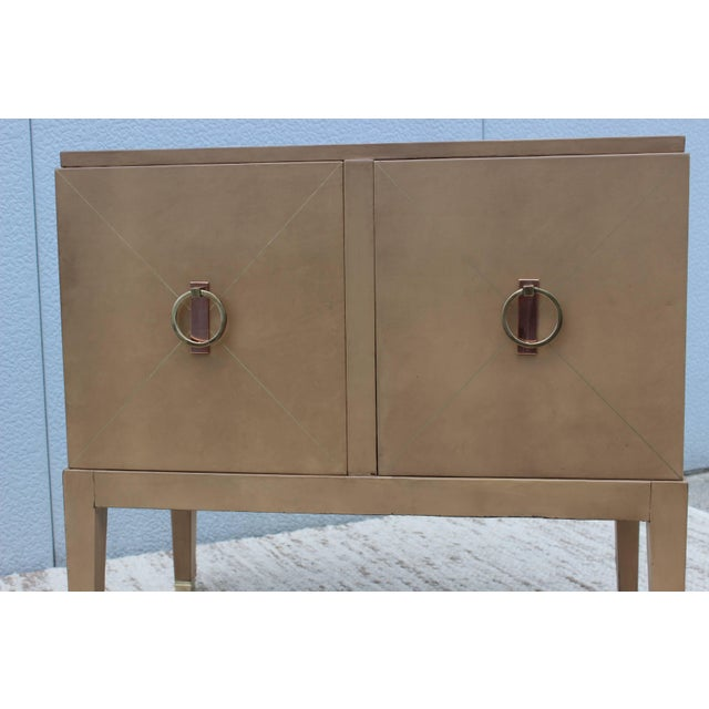 1940s French Leather Cabinet For Sale - Image 10 of 11