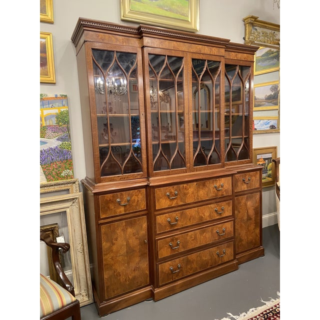 Traditional Vintage Mahogany Breakfront With Butlers Desk For Sale - Image 3 of 12