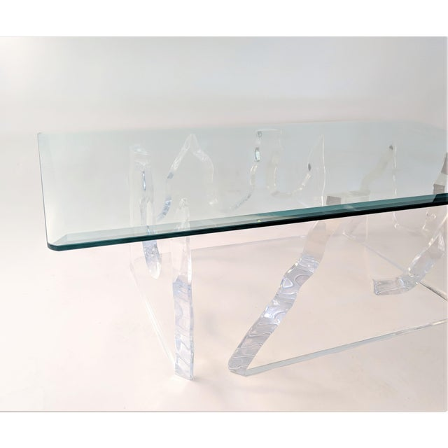Lion in Frost Style Lucite Iceberg Coffee 2-Piece Table Base For Sale In Miami - Image 6 of 13