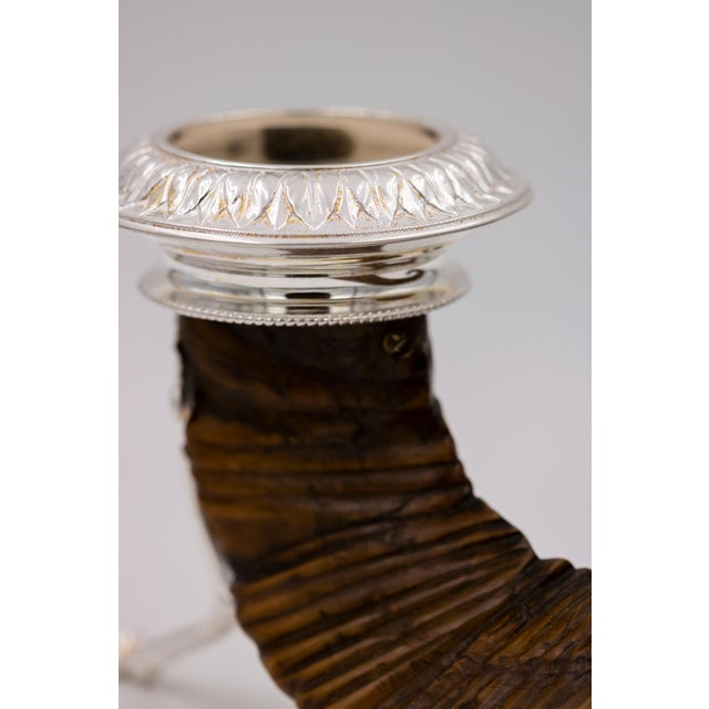 Brown Scottish Rams Horn and Silver Candle Holder, Mid-19th Century For Sale - Image 8 of 9