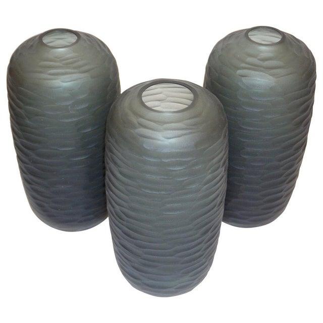 Salviati Vintage Italian Minimalist Smoked Gray Battuto Murano Art Glass Vases For Sale - Image 11 of 12