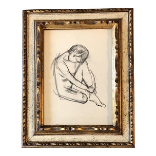 Original Vintage Female Nude Charcoal Study Drawing Framed For Sale