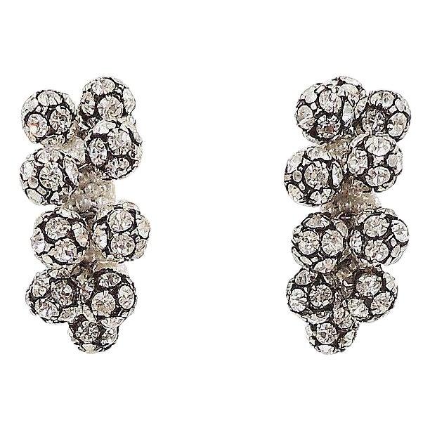 1960s Rhinestone & Faux-Pearl Earrings For Sale