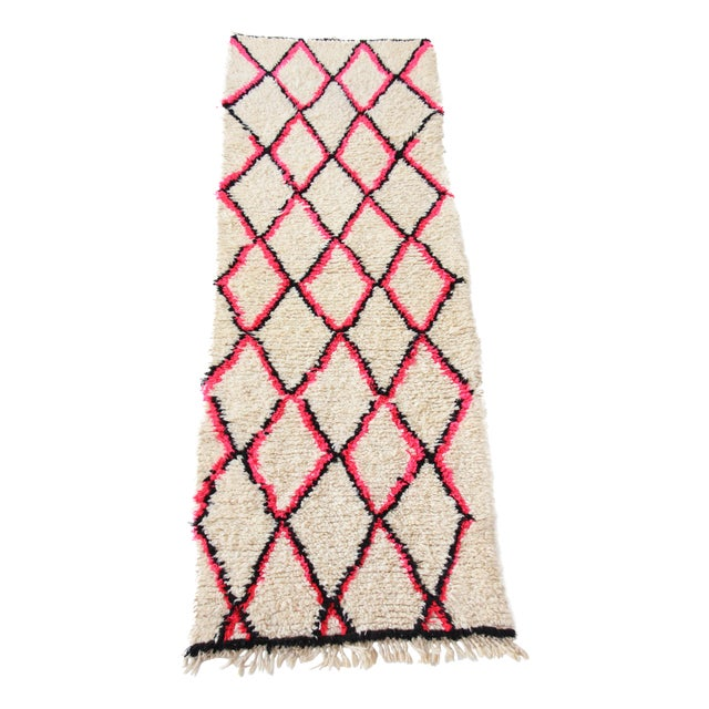 Vintage Moroccan Beni Ourain Pink Runner For Sale