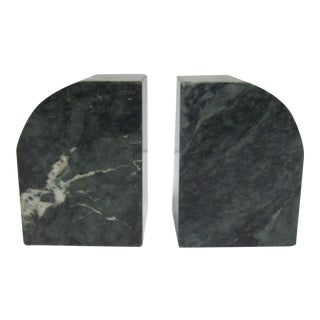 Vintage Modern Dark Green Marble Bookends - a Pair For Sale
