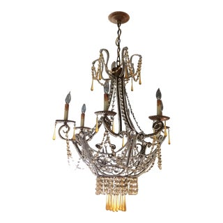 Clear and Apricot/Amber Colored Crystal Drop Chandelier