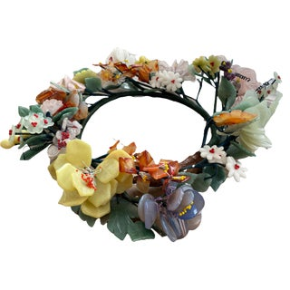 Vintage Chinese Hardstone Floral Wreath Arrangement For Sale
