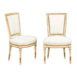 Pair of French Louis XVI Style Painted and Gilded Upholstered Side Chairs, 1860s