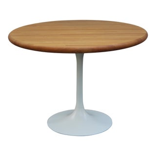 Vintage 1960 Burke Tulip Table Wood Butcher Block Round Top For Sale