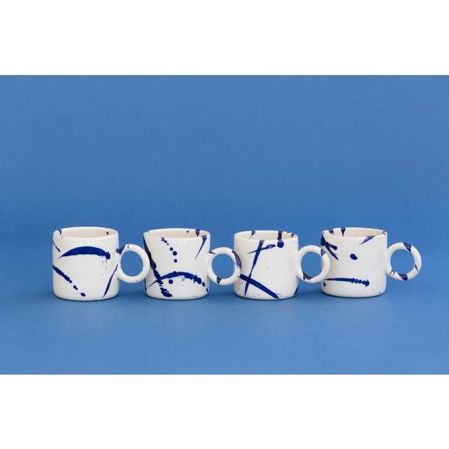 Indigo Splattered Ceramic Circle Mug - Set of 4 For Sale - Image 4 of 5