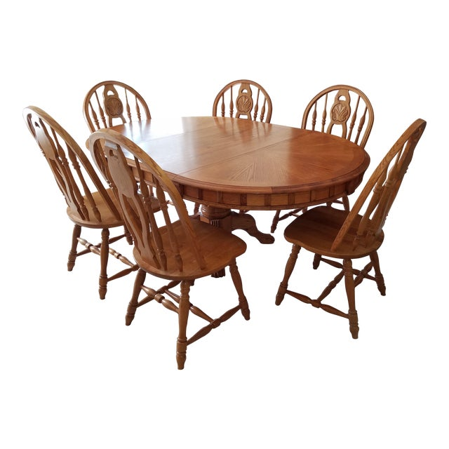 1990s Country Honey Oak Clawfoot Dining Set - 7 Pieces For Sale