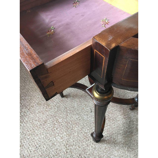 Antique Inlaid Floral Writing Desk or Vanity with Bronze Mounts For Sale - Image 10 of 10