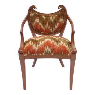 A Biedermeier Style Carved Shield Back Armchair W/ Double Eagle Heads Flame Rare For Sale