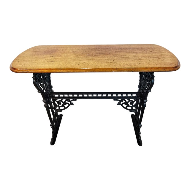 1900s Vintage French Iron and Walnut Bistro Table For Sale