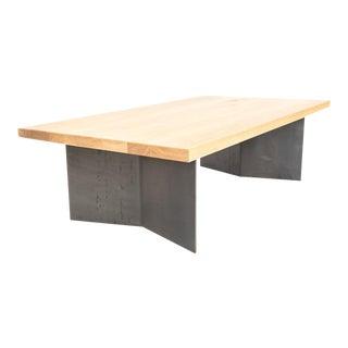 Modern White Oak Dock Coffee Table With Folded Steel Base For Sale
