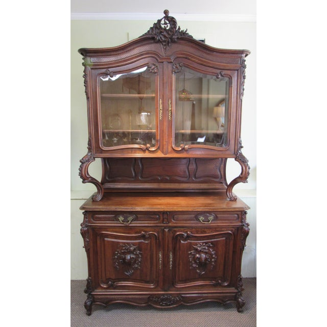 1900 French Walnut China Cabinet For Sale - Image 13 of 13
