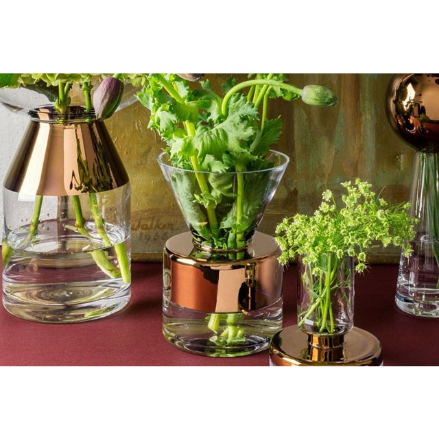 Modern Tom Dixon Handblown Clear Glass Vase With Copper Stripping For Sale - Image 3 of 4