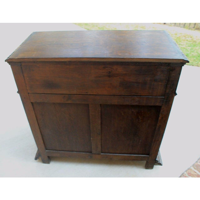Antique French Oak Mid-19th Century Renaissance Revival Barley Twist 3-Drawer Chest Entry Commode Cabinet For Sale - Image 12 of 13