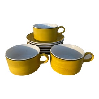 Mid 20th Century LaGardo Tackett Teacups and Saucers- Set of 9 For Sale