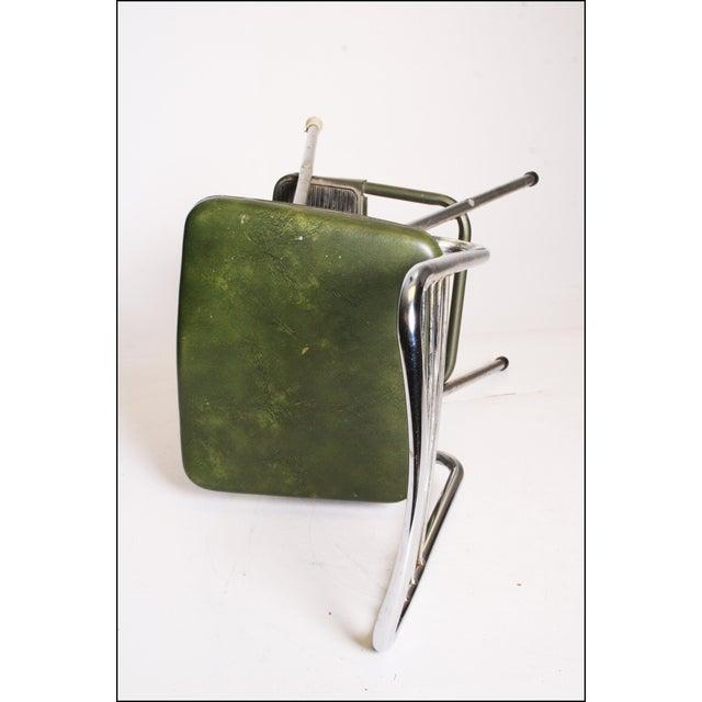 Mid-Century Green Vinyl Chrome Cosco Step Stool - Image 10 of 11