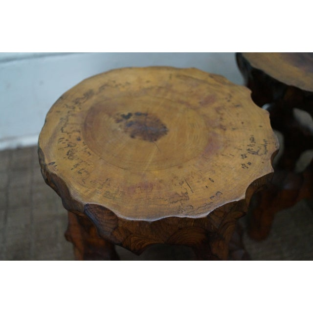 Mid Century Small Tree Stump Carved End Tables - Image 5 of 10