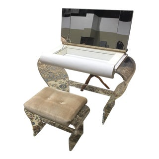 1970s Modern White & Clear Lucite Hill Mfg. Mirrored Vanity With Matching Upholstered Stool - 2 Pieces For Sale