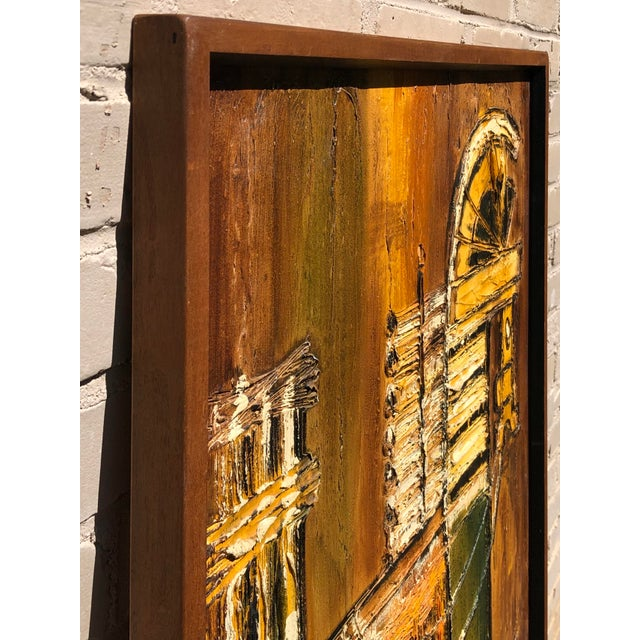 Large Original Van Hoople (American Born 1934) Abstract Impasto painting of a Trojan Horse, thick texture with gold and...