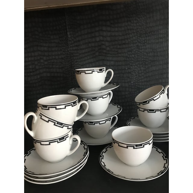 Modern Greek White Black Geometric Sompex Ionia Collection Service of 11 For Sale - Image 9 of 12