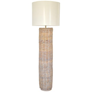 Midcentury Woven Rattan Cylinder Form Floor Lamp For Sale