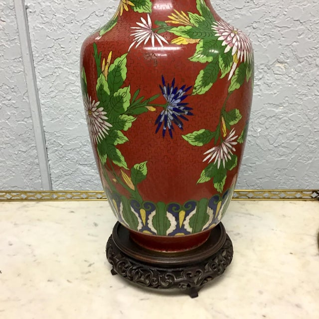 Asian Urn Shaped Cloisonne Table Lamp For Sale - Image 3 of 10