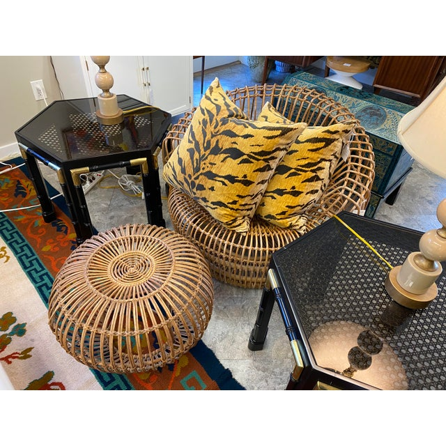 Stunning Rattan and Bamboo Lounge Chair with Matching Ottoman Designed by Franco Albini
