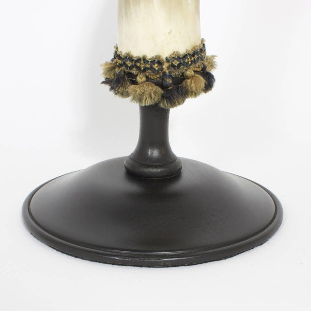Bone Mid-Century Large and Dramatic Polished Horns on Mounts - A Pair For Sale - Image 7 of 9