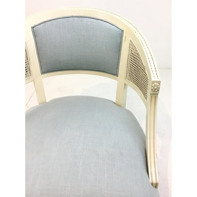 2010s Hickory Chair Transitional Le Clerc Ivory Cane Chairs Pair For Sale - Image 5 of 8