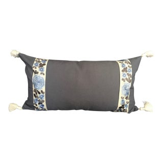 Brand New Blue Lumbar Pillow Cover With Ivory Tassels and Floral Batik Tape Trim For Sale