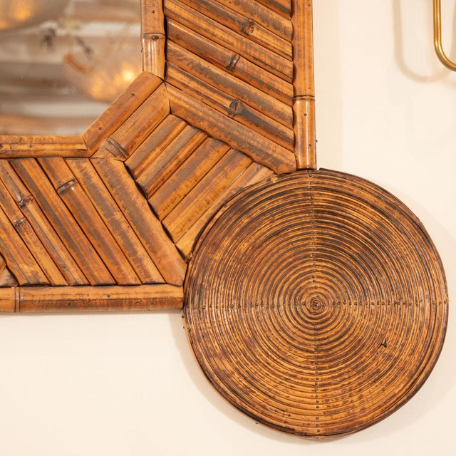 Unusual Mirror With Intricate Bamboo Surround For Sale - Image 4 of 5
