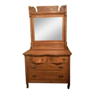Antique Oak Dresser & Mirror For Sale