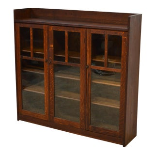 20th Century Mission Charles Limbert Quartersawn Oak Three Door Bookcase For Sale