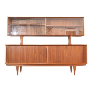 Danish Mid Century Bernhard Pedersen Credenza and Hutch For Sale