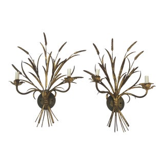 Italian Gilt Gold Iron Wheat Sheaf Sconces - a Pair For Sale