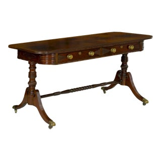 19th Century English Regency Rosewood Antique Writing Table Desk Console For Sale