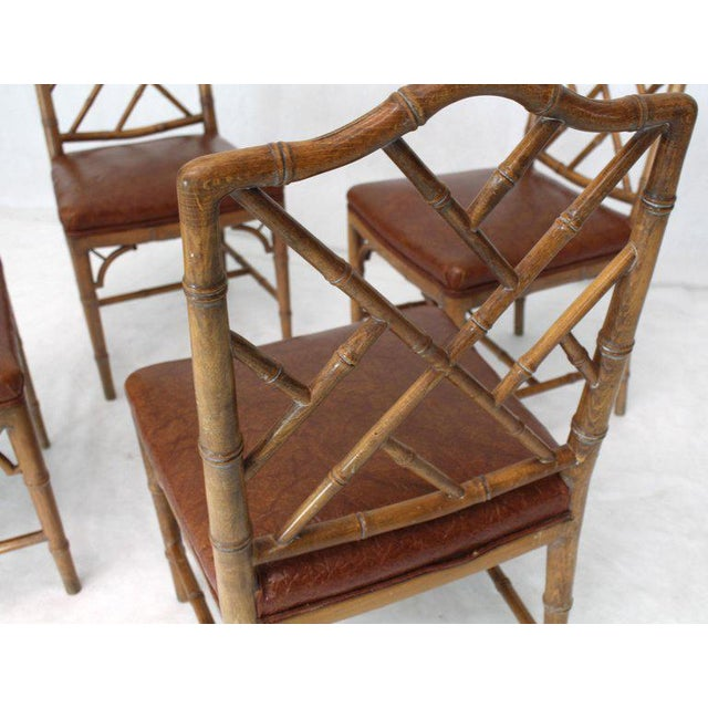 Set of Four Carved Faux Bamboo Dining Chairs For Sale - Image 4 of 9