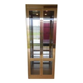 Mastercraft Hollywood Regency Modern Style Brass Exterior Lighted Cabinet For Sale