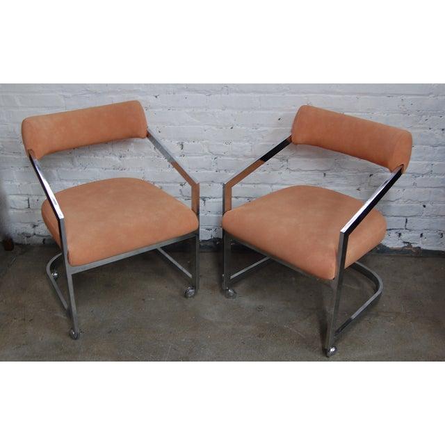 Peach Blush Dia Chrome Modernist Chairs - Pair - Image 2 of 11