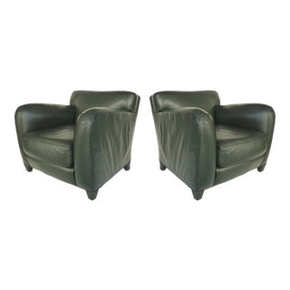 1990s Vintage Donghia Main Street Collection Forest Green Leather Club Chairs- a Pair For Sale