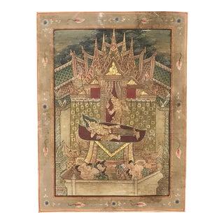 Framed Thai Buddhist Scene Watercolor or Thangka For Sale