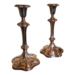 Antique Silver Plated Candlesticks For Sale
