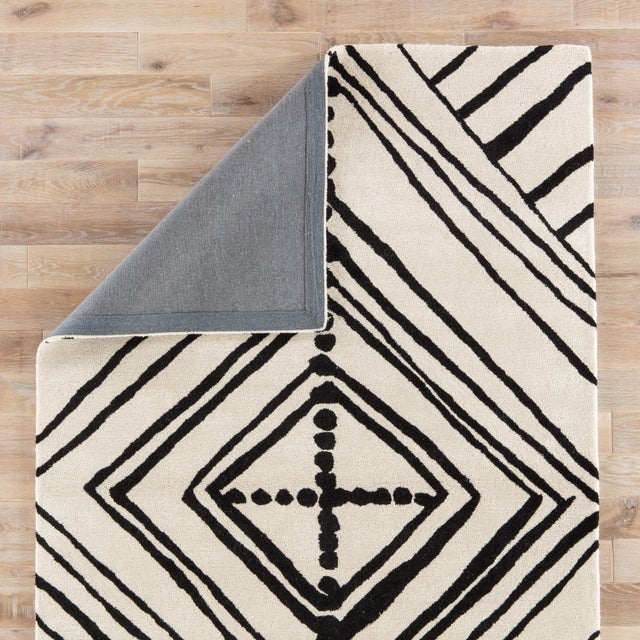 Nikki Chu by Jaipur Living Gemma Handmade Abstract White/ Black Area Rug - 2′ × 3′ For Sale - Image 4 of 6