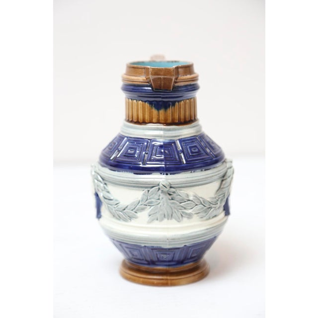English Cobalt Majolica Pitcher with Cameo For Sale - Image 4 of 7