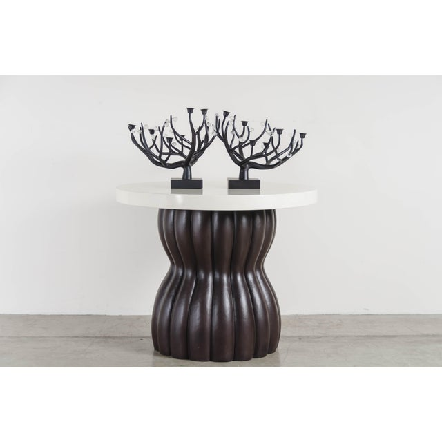Metal Hand Repousse Carved Black Copper and Crystal Candelabra by Robert Kuo, Limited Edition For Sale - Image 7 of 8
