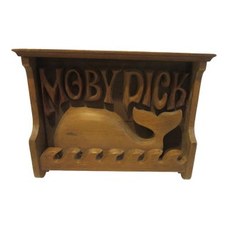 1980s Americana Hand Carved Wooden Plaque or Shelf of a Whale With Moby Dick Lettering For Sale